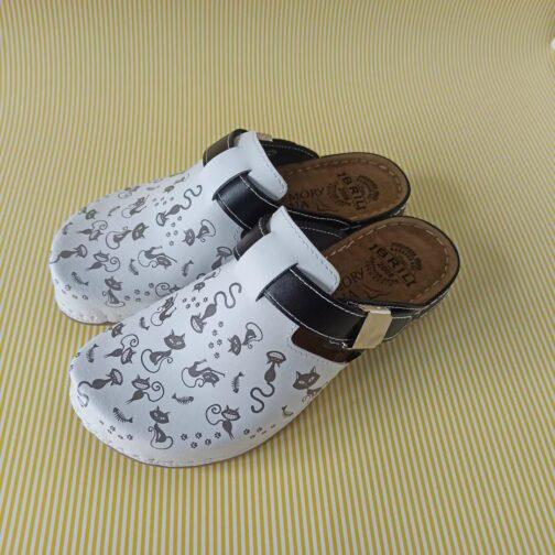 Modna klompa maca bijelo crna 6