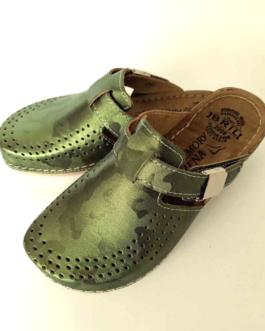 saten zeleni klompa papuca anatomska