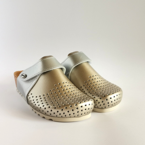 Ženske anatomske klompe | V-009 zlatno-srebrna 3